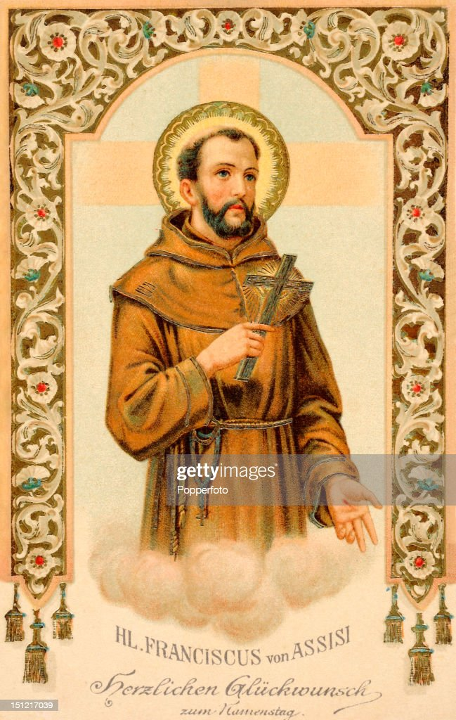 A vintage colour postcard featuring St Francis of Assisi, published circa 1910.