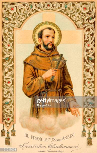 A vintage colour postcard featuring St Francis of Assisi published circa 1910