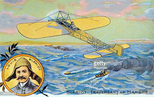 Vintage colour postcard illustration of French aviation pioneer Louis Bleriot the first aviator to fly across the English Channel on 25th July 1909