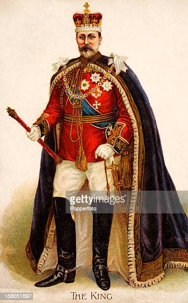 A vintage colour postcard of King Edward VII in his coronation robes on 9th August 1902