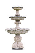 Vintage courtyard fountain isolated on white with clipping path