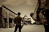 western sheriff in old wild west ghost town