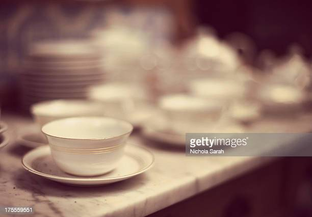Vintage crockery in a French brocante