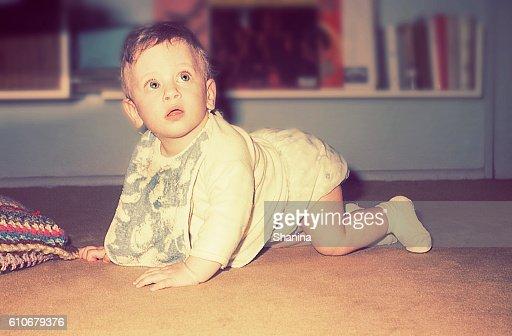vintage cute baby boy : Stock Photo