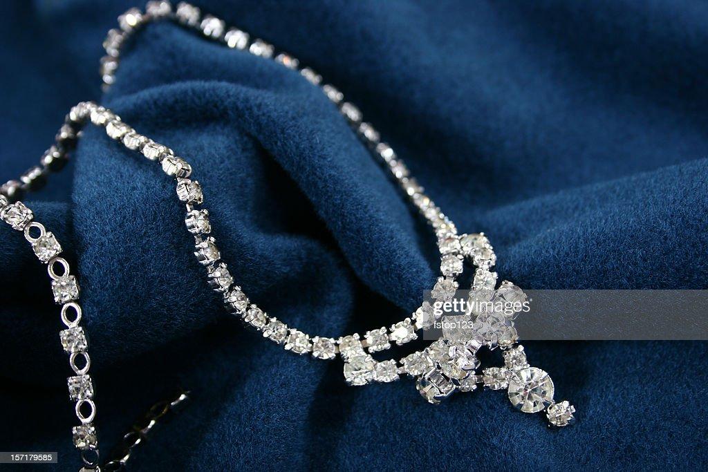 Vintage Diamond necklace on blue fabric