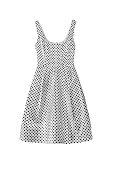 White with black polka dots dress on white background