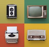 Vintage/retro radio, television, typewriter and camera set