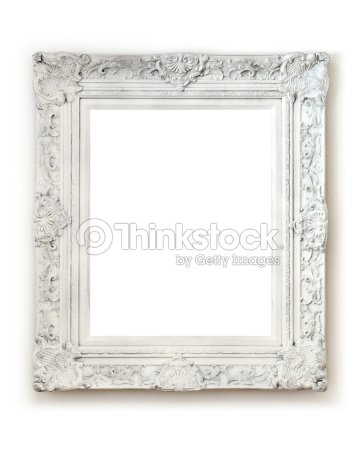 vintage empty frame on white wall stock photo - Empty Picture Frame