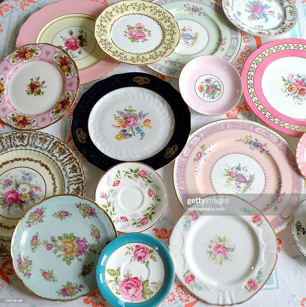 Vintage European china plates : Stock Photo
