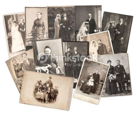Vintage Familie Und Hochzeit Bilder Original Alten Bilder Stock Foto
