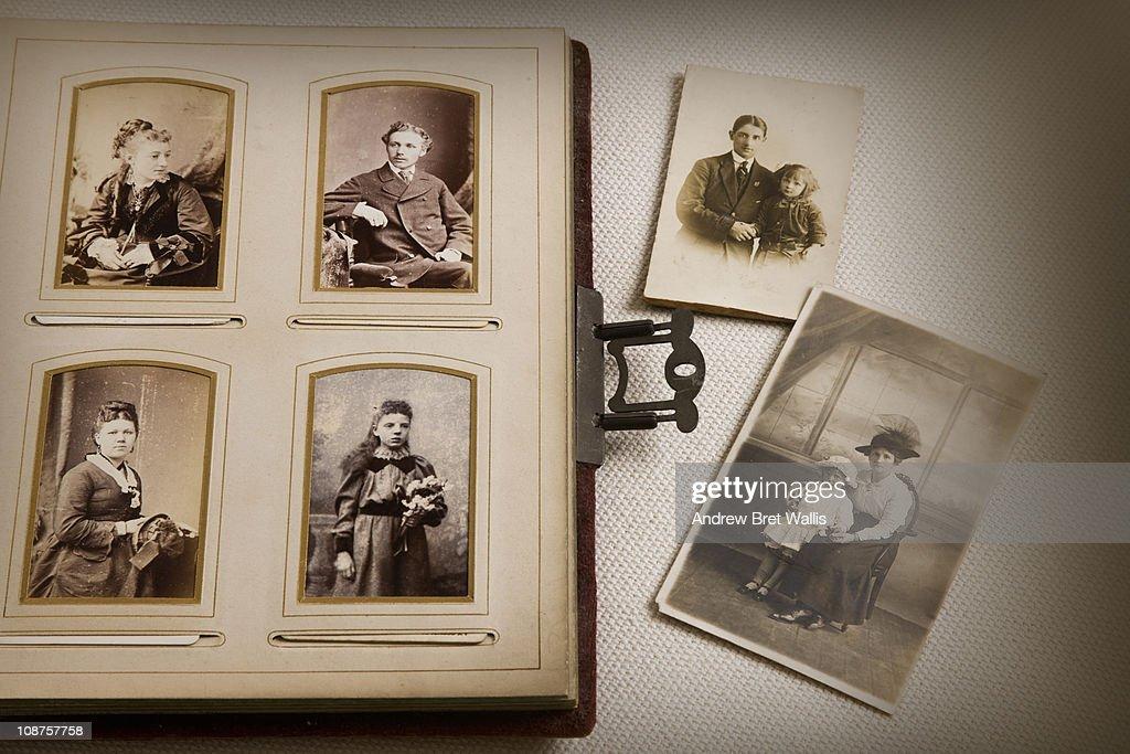 vintage family photo album and documents : Stock Photo