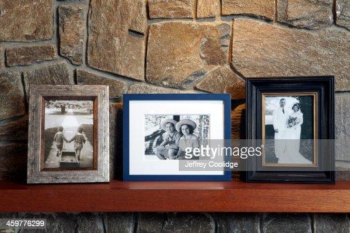 Vintage Family Photos on Mantle