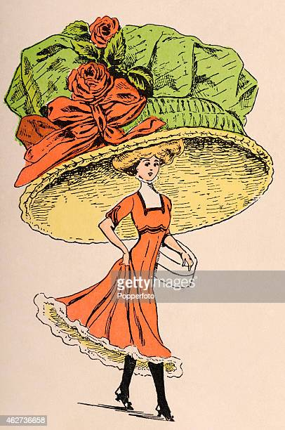 A vintage fashion illustration featuring a young lady wearing a parody of an enormous hat circa 1910