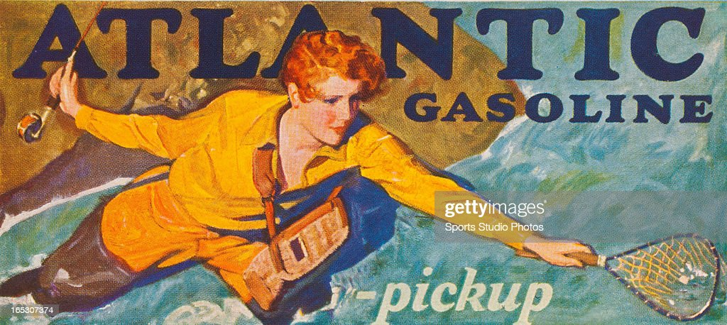 Vintage Fishing Litho. Colorful vintage fishing litho from a Atlantic Gasoline ad.