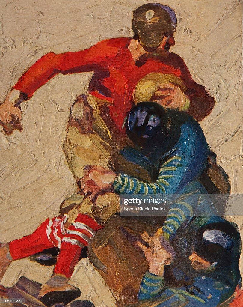 Vintage Football Illustration. cover art from vintage University of California vs. Stanford University football program.