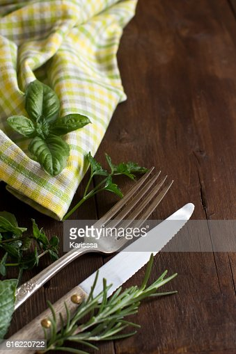 Vintage fork and knife on a colorful napkin : Stock-Foto