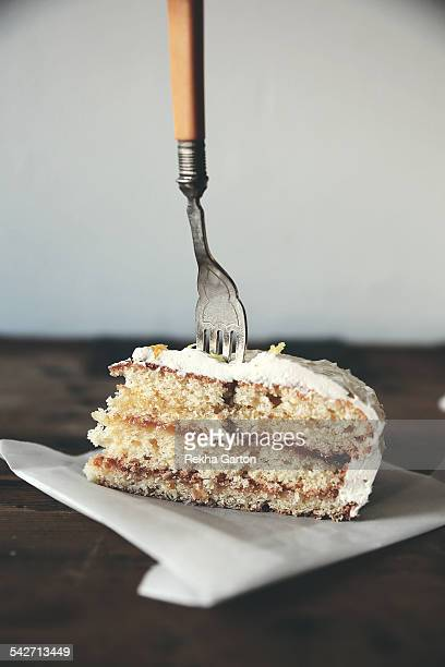 Vintage fork in a layered cake