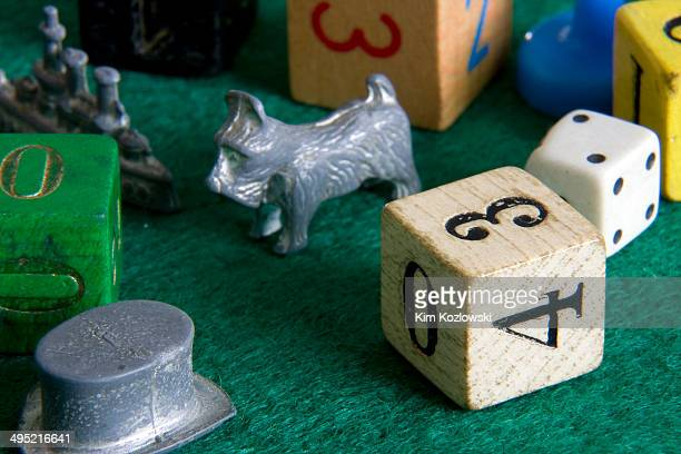 Vintage game pieces on a felt gameboard