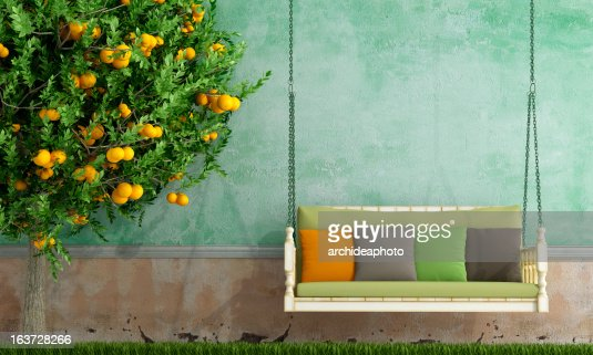 Vintage garden swing : Stock Photo