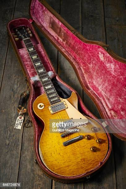 A vintage Gibson Les Paul '59 electric guitar nicknamed 'The Beast belonging to English rock guitarist Bernie Marsden taken on May 20 2016
