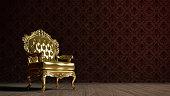 Vintage golden armchair