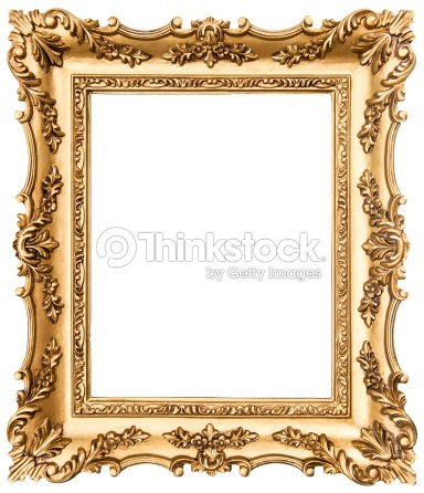 vintage golden picture frame isolated on white stock photo thinkstock. Black Bedroom Furniture Sets. Home Design Ideas