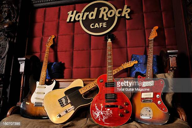 Vintage guitars in the vault of London's Hard Rock Cafe Duane Allman's Fender Stratocaster Jeff Beck's 1957 Fender Esquire Slash's Gibson custom LP...