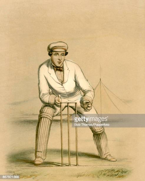A vintage hand coloured lithograph depicting a wicketkeeper by the artist John Corbet Anderson printed by Stannard Dixon and published by Fred...