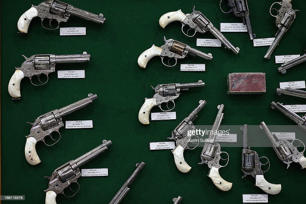 Vintage handguns are displayed during the 2013 NRA Annual Meeting and Exhibits at the George R. Brown Convention Center on May 5, 2013 in Houston, Texas. More than 70,000 people attended the NRA's 3-day annual meeting that featured nearly 550 exhibitors, a gun trade show and a political rally.