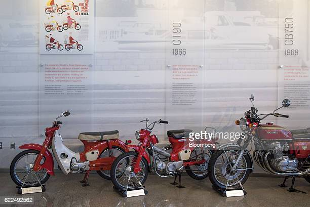 Vintage Honda Motor Co motorcycles are displayed at the Honda Heritage Center in Marysville Ohio US on Thursday Nov 10 2016 Honda Motor Co plans to...