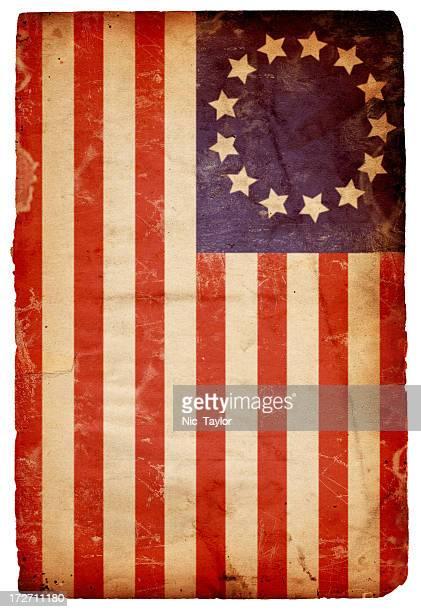 Vintage horizontal American flag background