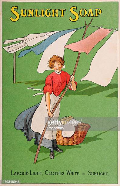 A vintage illustration advertising Sunlight Soap featuring a happy washerwoman and her clean clothes and white goods circa 1910