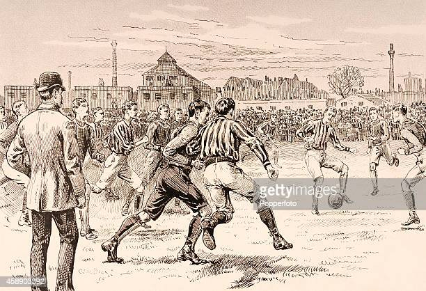 A vintage illustration featuring action during the Football Association Challenge Cup final between West Bromwich Albion and Aston Villa at the...