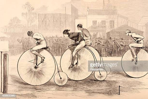 A vintage illustration featuring cyclists on pennyfarthing bicyles at the Kennington Oval in London circa November 1874