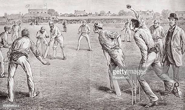 A vintage illustration featuring Fred Spofforth of Australia known as 'The Demon Bowler' bowling to Dr WG Grace of England during the Test Match at...
