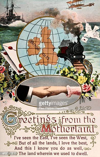 A vintage illustration featuring greetings from the Motherland of the British Isles clapsed hands and modes of transportation circa 1910