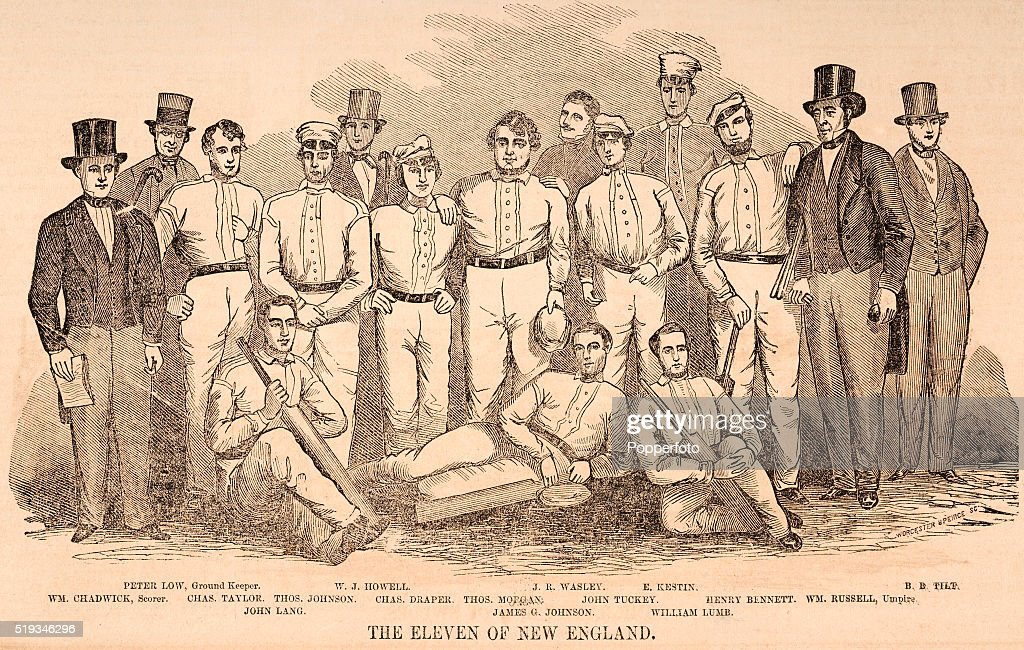 A vintage illustration featuring the Cricket Eleven of New England, circa August, 1851. Left to right, back row: Peter Low (ground keeper), WJ Howell, JR Wasley and E Kestin; middle row: William Chadwick (scorer), <a gi-track='captionPersonalityLinkClicked' href=/galleries/search?phrase=Charles+Taylor&family=editorial&specificpeople=240314 ng-click='$event.stopPropagation()'>Charles Taylor</a>, Thomas Johnson, Charles Draper, Thomas Morgan, John Tuckey, Henry Bennet and William Russell (umpire); front row: John Lang, James Johnson and William Lumb.