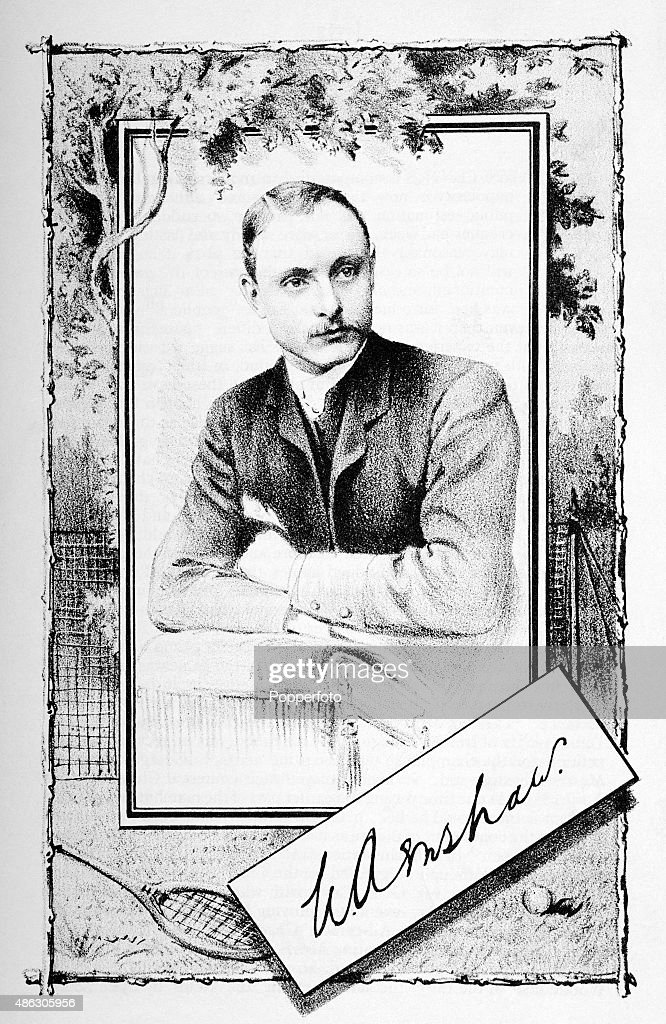 A vintage illustration featuring the English tennis player William Renshaw from the contemporary journal Sporting Mirror published in London circa...