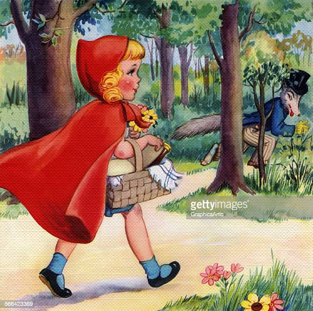 Vintage illustration from the fairy tale Little Red Riding Hood depicting Riding Hood walking in the woods with her basket screen print circa 1940