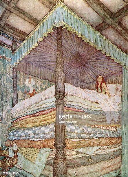 Vintage illustration from The Princess and the Pea by Edmund Dulac with the princess on top of a pile of mattresses from the fairy tale by Hans...