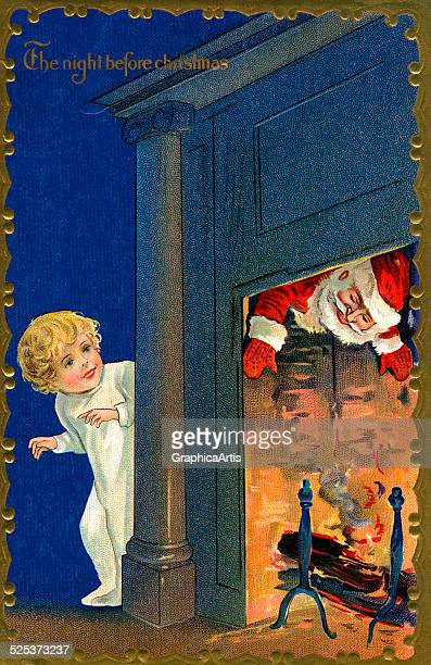 Vintage illustration of a child watching Santa coming down the chimney on Christmas Eve chromolithograph circa 1920s