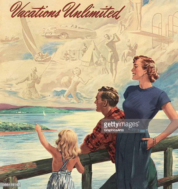 Vintage illustration of a family dreaming of their ideal vacation screen print 1952