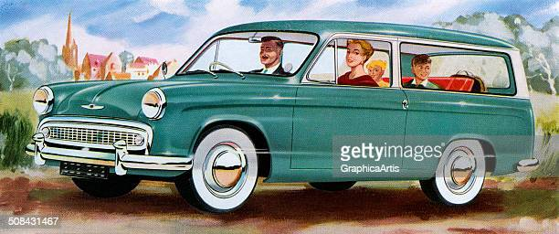 Vintage illustration of a family of four on a drive in the country in their station wagon 1950s Screen print