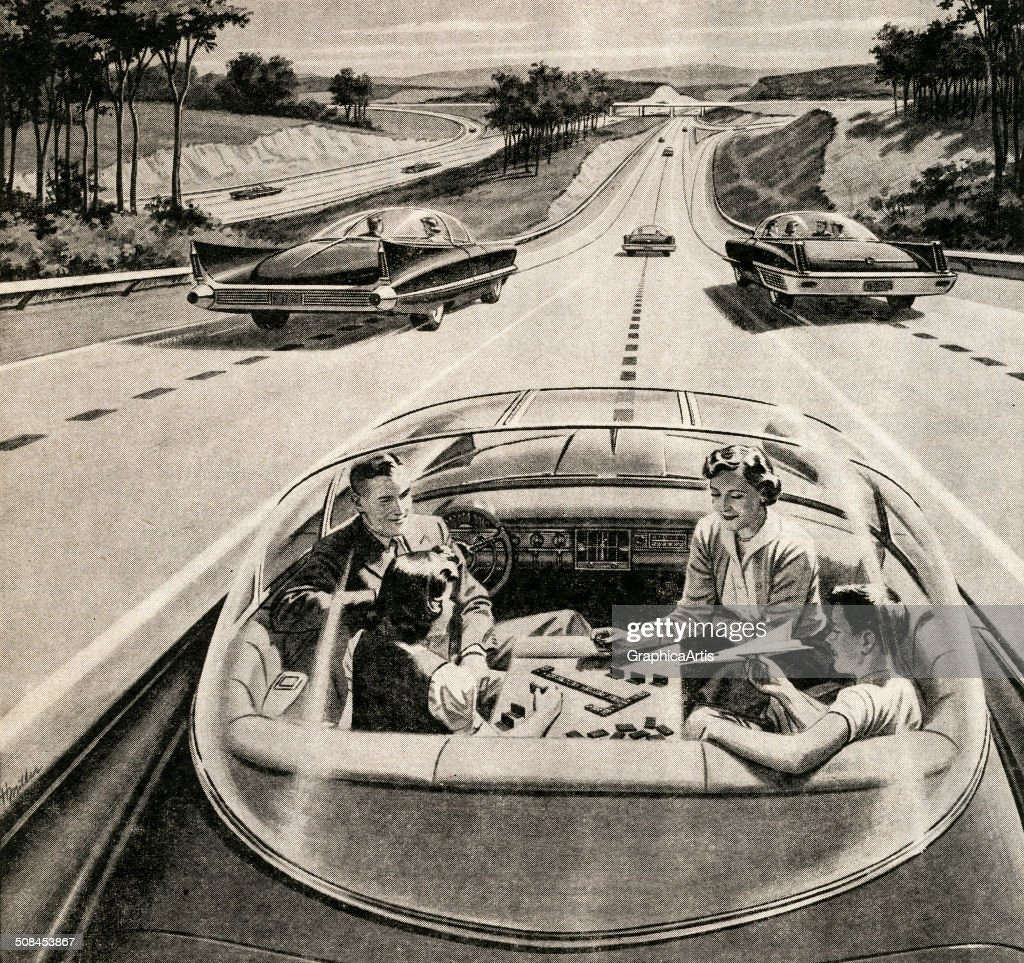 Vintage illustration of a family of four playing a board game, while their futuristic electric car automatically drives itself, 1957. Screen print.