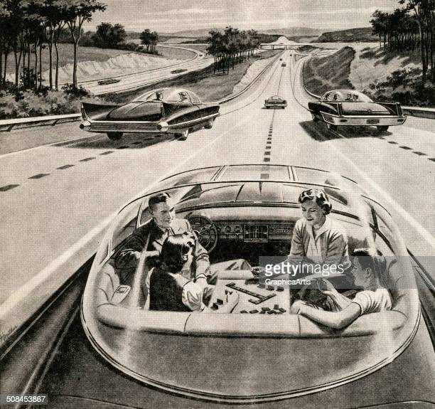 Vintage illustration of a family of four playing a board game while their futuristic electric car automatically drives itself 1957 Screen print