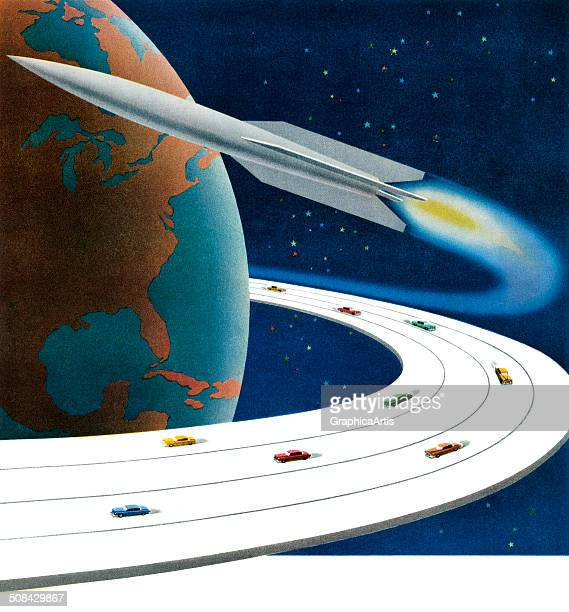 Vintage illustration of a futuristic planet Earth with a rocket and a highway filled with cars revolving around it 1949 Screen print