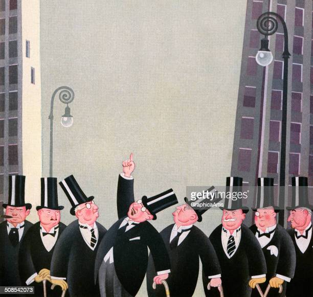 Vintage illustration of a group rich men wearing top hats on Wall Street 1927