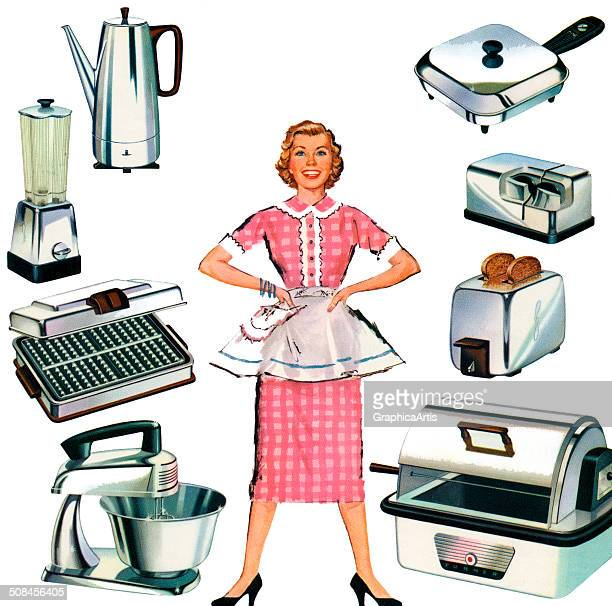 Vintage illustration of a happy housewife in her apron surrounded by gleaming new stainless steel kitchen appliances 1959 Screen print