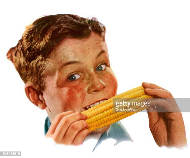 Vintage illustration of a happy young American boy biting into corn on the cob 1944 Screen print
