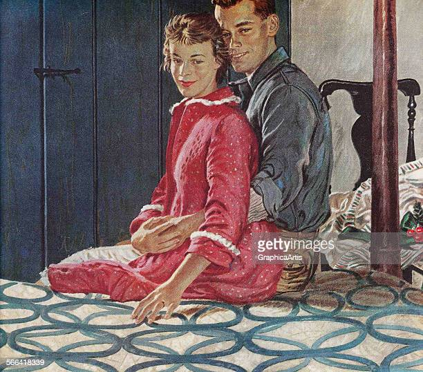 Vintage illustation of a husband and wife sitting on a quiltcovered bed embracing screen print 1954
